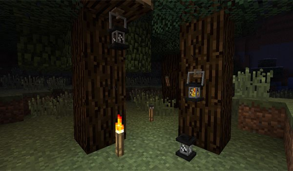 Unlit Torches and Lanterns Mod