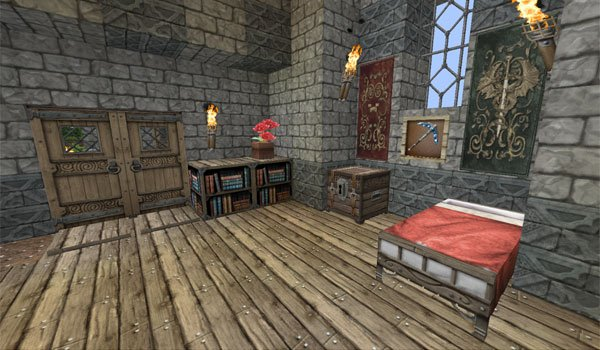 picture of the inside of a house, decorated with textures Chroma Hills RPG 1.8.