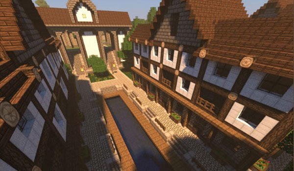 image of a wide street or avenue surrounded by houses, using ozocraft textures in Minecraft.