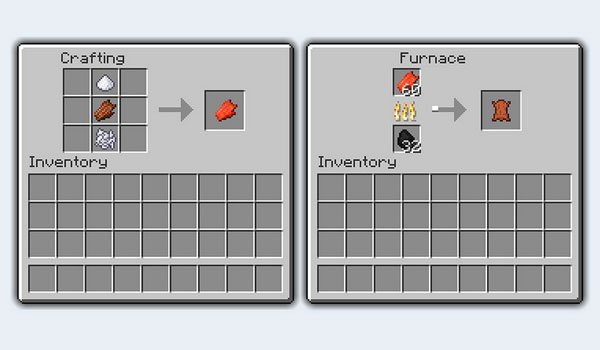 image where we can see the process required to convert Minecraft rotten meat, leather.
