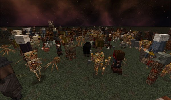 image where we see the appearance of the mobs of Minecraft, using broken anachronism 1.7.2 textures.