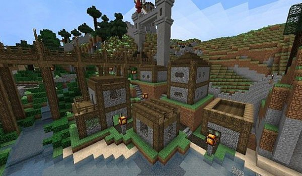 image of a small village in Minecraft, using the textures elveland 1.7.2