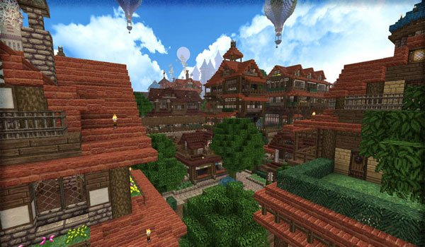 image of a villaje, with large brick homes, using textures halcyon days 1.7.2.