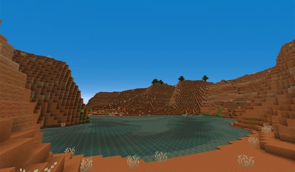 """image the """"Mesa"""" biome of Minecraft, decorated with textures pixel reality 1.7.2."""