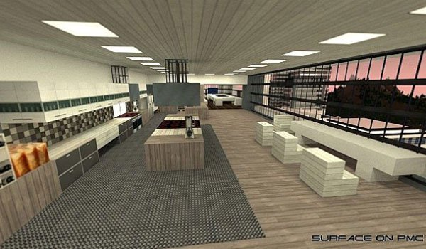 picture of the inside of a flat design, using the textures urbancraft 1.7.2.