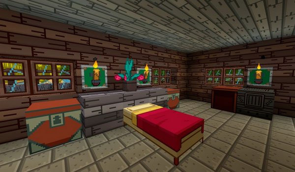 Image where we can see the interior of a house, decorated with the Adventure Time textures.
