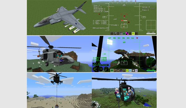 image where we can see the planes and helicopters that adds mod mc helicopter 1.7.10 and 1.7.2.