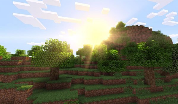 image where we see the sun rise over a mountain that cast shadows on the floor, with the shaders mod 1.7.2 and 1.6.4.