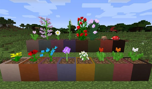 image where we see the many pots of various colors that add the modular flower pots 1.7.2 and 1.7.10.