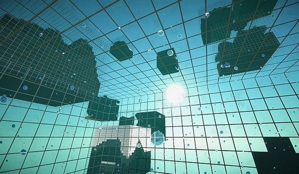 image from inside of one the glass blocks generator, the mod cube world generator 1.7.2 and 1.7.10.