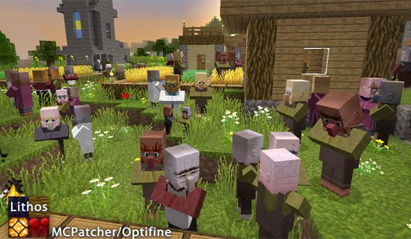 image of a full town of villagers, using lithos 1.12 and 1.11.