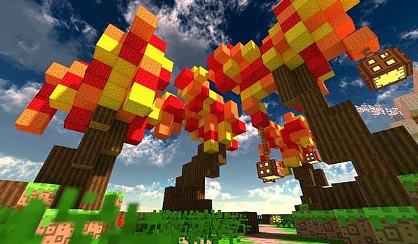 image where we see some original and colorful trees of Minecraft, using textures dreams of drean 1.8.