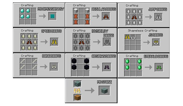 image we see recipes for items that can be created with the mod mo ' boots 1.7.2 and 1.7.10.