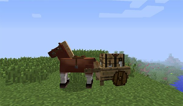 example where we can see a horse pulling a cart with wheels, thanks to the mod wheel cart 1.7.10 .