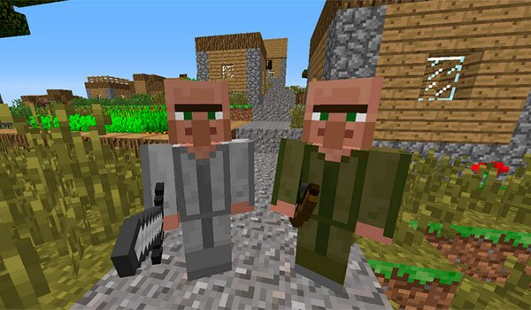 picture where we see two soldier villagers added by helpful villagers 1.7.10.