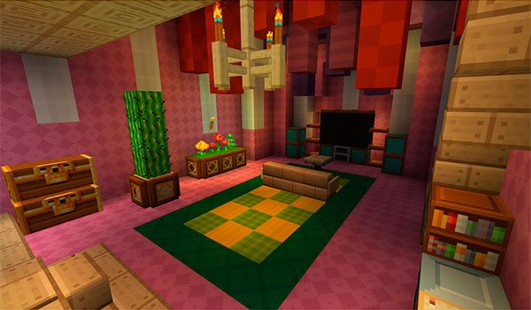 image of the interior of a dwelling, decorated with the textures Frend's Meringued Cartoon Texture Pack 1.8
