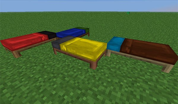 picture where we see four beds with sheets and pillows of different colors, thanks to the bed craft and beyond mod 1.10.2.