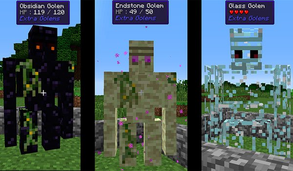 image where we can see three types of new golems, developed with extra golems mod 1.12 and 1.12.2.