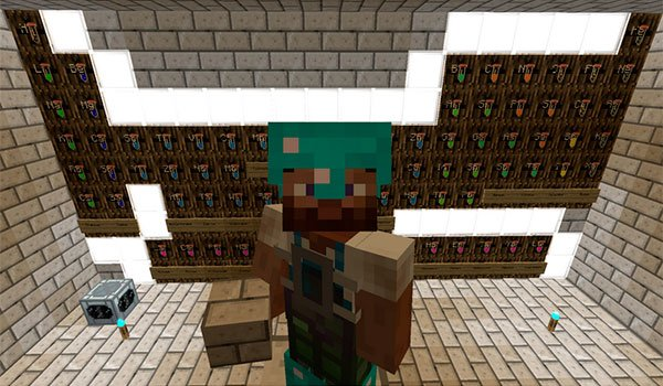 picture where we see a player of Minecraft showing a periodic table of elements from Minecraft, with minechem mod 1.7.10.