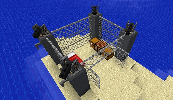 image where we can see four defensive towers, from open modular turrets mod 1.12.2 and 1.11.2.