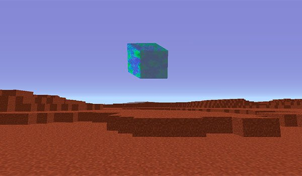 image of a player on the planet Mars. At the horizon we see the Earth in small dimensions.