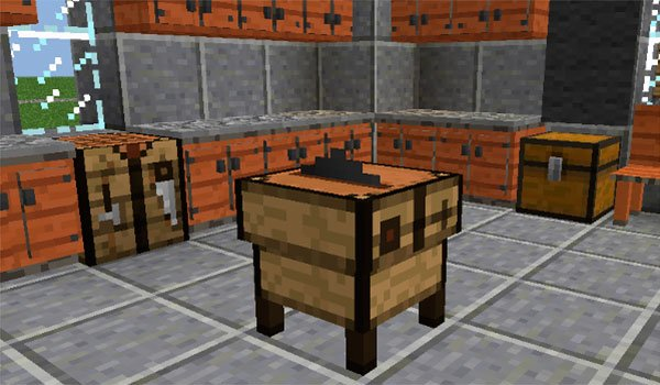 picture where we see the new cutting table, adding by decoration mega pack mod 1.12.2.