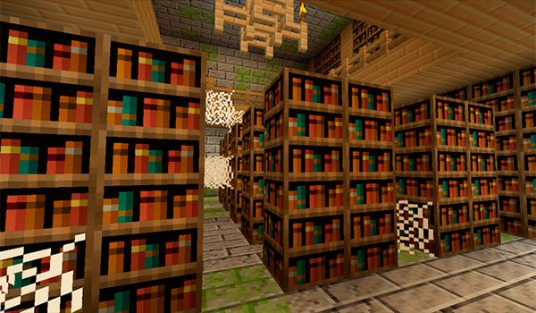 image of a library full of bookshelves, decorated with textures Jehkoba's Fantasy 1.8.