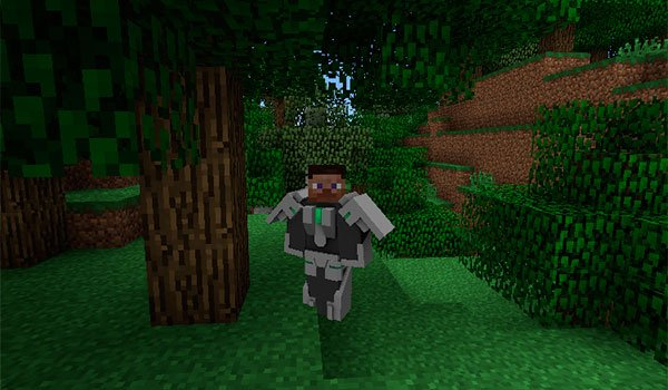 image where we can see a player using armor of the modular powersuits mod 1.10.2.