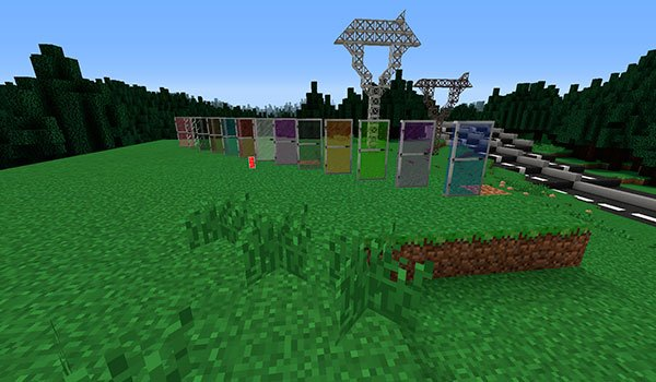 image where you can see the glass doors of various colors, added by the monoblocks mod 1.7.10.