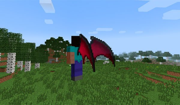 image where we can see a player flying with wings added this mod.