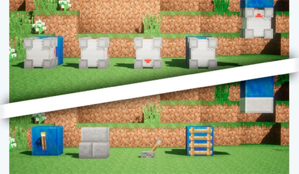 image where we see an before and after using the toggle mod blocks 1.7.10.
