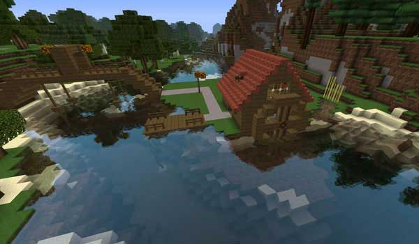 a house on the lake, decorated by sphax purebdcraft texture pack.