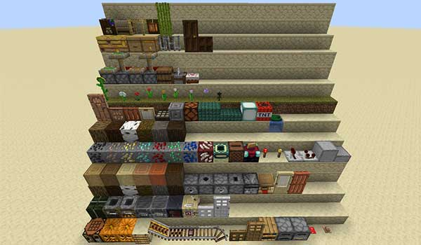 Image where we can see an exhibition of all the blocks of the game with the textures added by the Classic 3D texture pack.