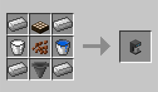 Image where we can see how make the coffee maker that adds the Coffee Spawner mod.