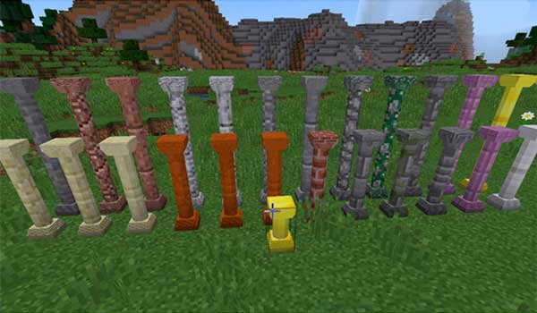 Image where we can see an example of the diverse types of columns, of several materials, that we will be able to create with the Corail Pillar Mod.