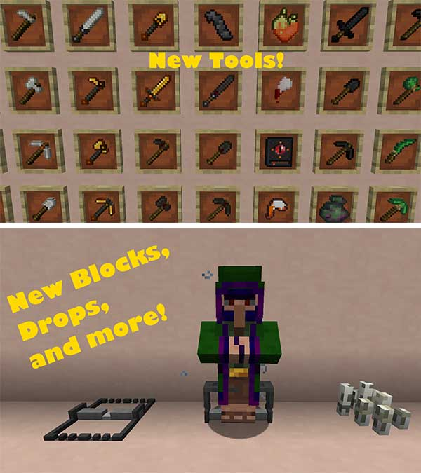 Image where we can see a sample of some of the new objects that we will be able to make with the Craft and Hunt Mod.