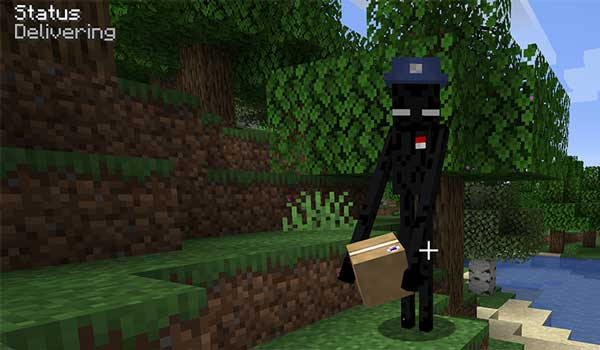 Image where we can see an Enderman loading a package, which will be sent thanks to the Ender Mail mod.
