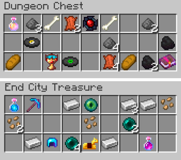 Image where we can see an example of the new type of content that we will find in the dungeon chests with the Enigmatic Legacy mod 1.15.2 installed.