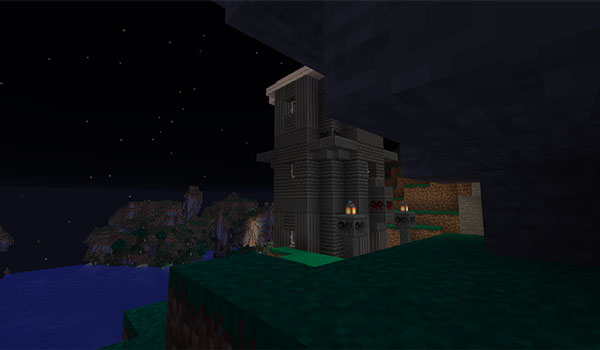 Image where we can see one of the mystery towers added by the ExplorerCraft Mod 1.15.2.