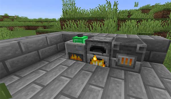 Image where we can see the grinding wheel, which adds the Grindr Mod, next to an oven.