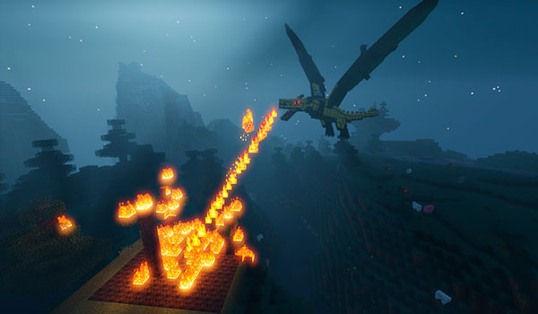 Image where we can see a fire dragon, from the mod Ice and Fire 1.12.2, throwing fire from its mouth.