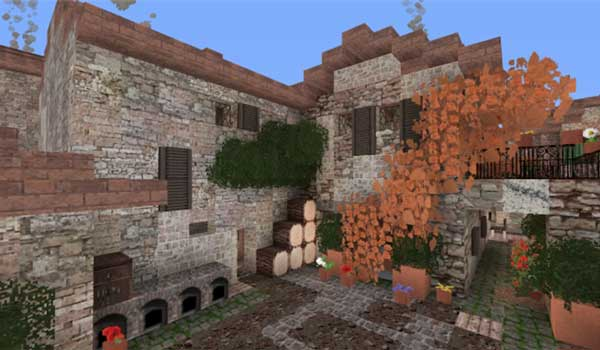 Image where we can see a house with an inner courtyard, decorated with the textures offered by Italiapack 1.15 and 1.14