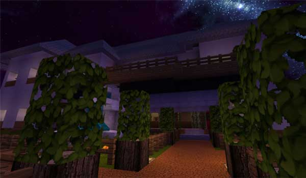 Image where we can see an area of gardens decorated with Karmorakcraft Texture Pack.