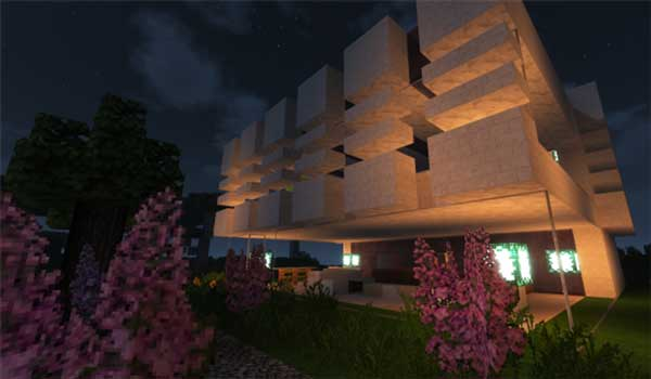 Image where we can see the exterior aspect of a modern construction, using the texture pack Karmorakcraft.