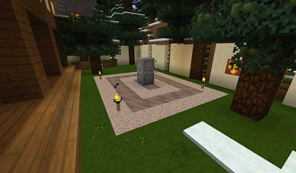 Image of an interior garden, decorated with the textures of Medial Texture Pack.