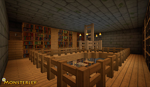 Image where we can see the aspect of a library, using the textures Monsterley Texture Pack.