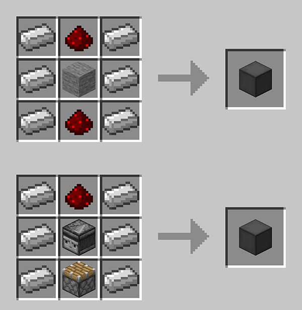 Image where we can see the recipes for manufacturing the elevator controllers offered by the Moving Elevators mod.