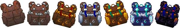 Image where we can see the seven variants of backpacks that we can make with this Packed Up Mod.