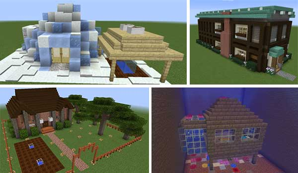 Image where we can see four examples of prefabricated constructions that we can use with the Prefab Mod 1.15.2.