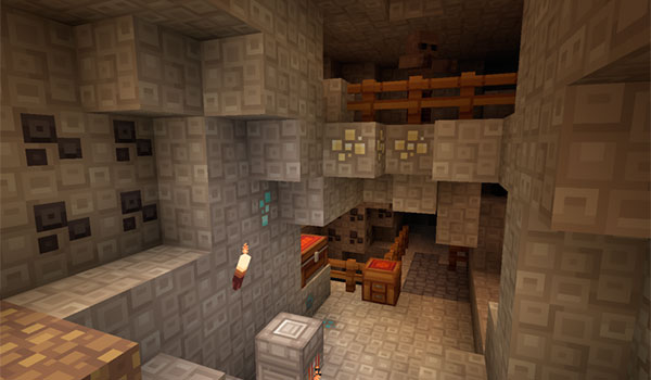 image that shows how a mine looks like in Minecraft, using the quadral texture pack.